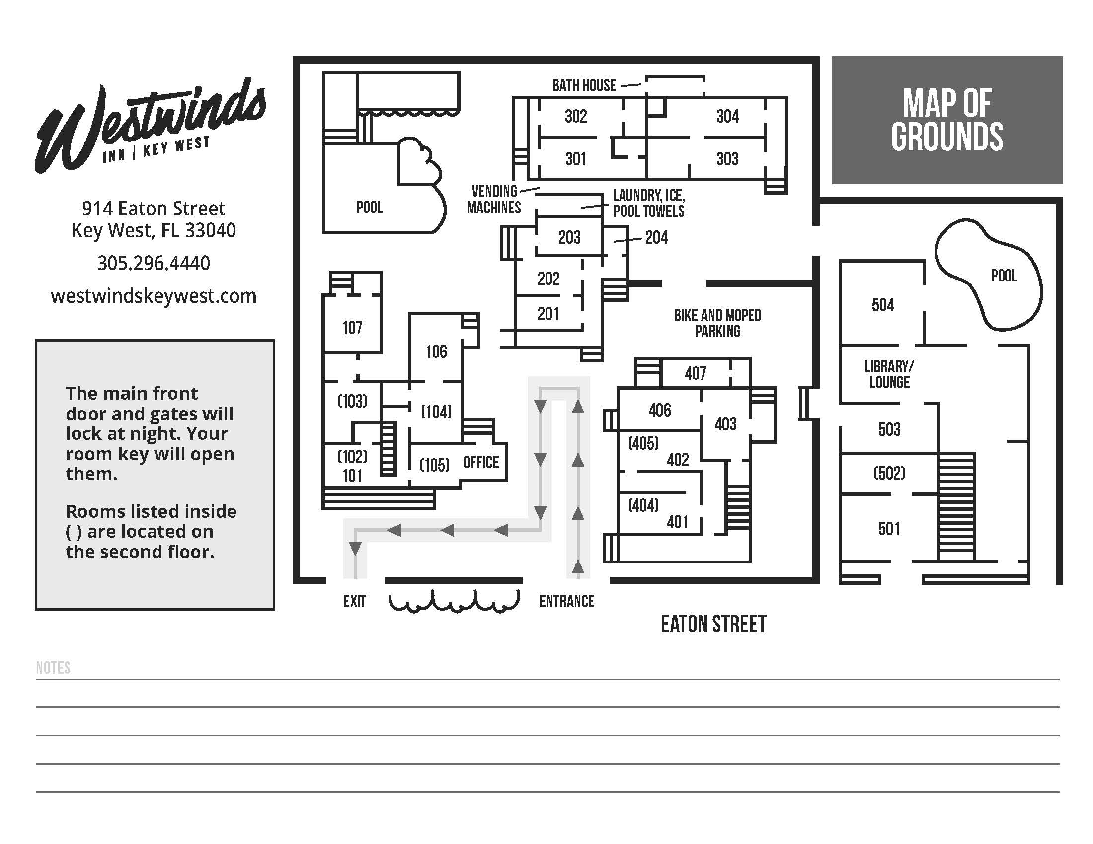 Westwinds Inn Property Grounds Map