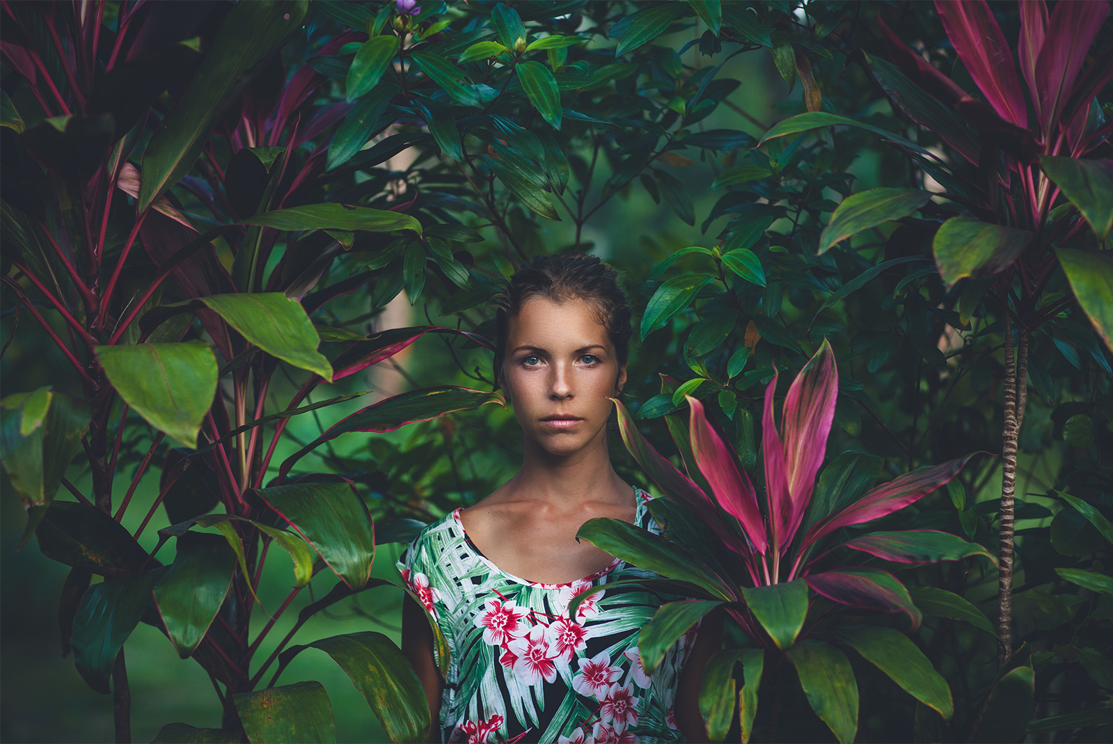 Girl in the garden at our Key West hotel